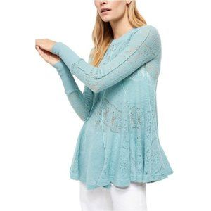 Free People Coffee Morning Tunic Lace Top Blue S